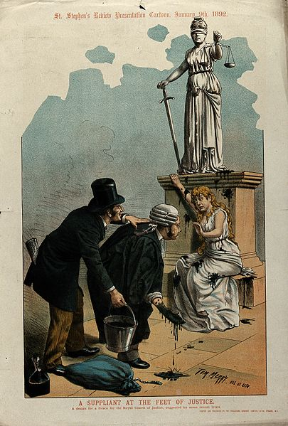Men_throwing_black_paint_at_a_woman_seeking_justice_Wellcome_V0050338
